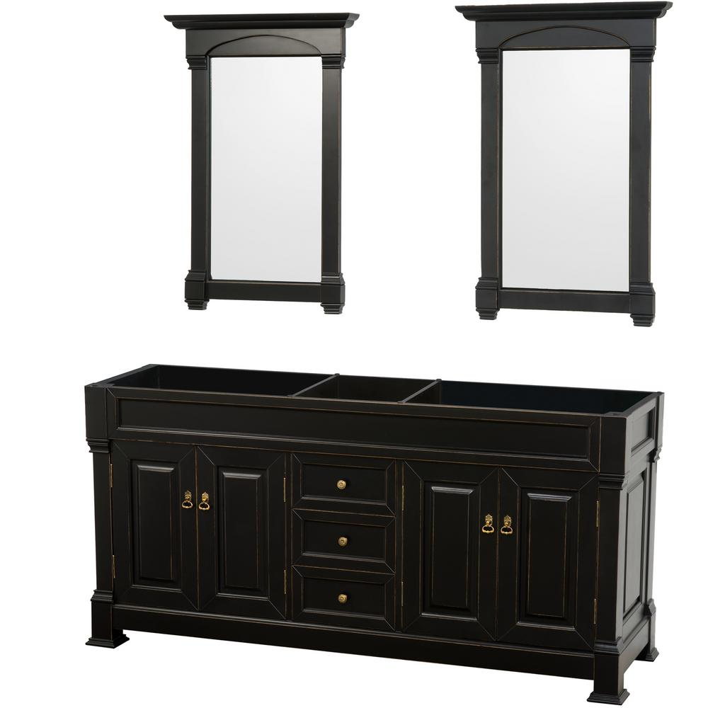Andover 72 in. W x 22.25 in. D Bath Vanity Cabinet Only with Mirrors in Black