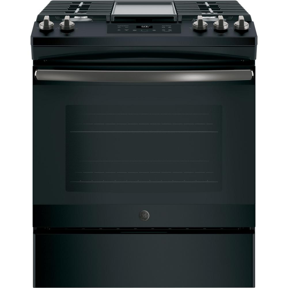 GE 5.3 cu. ft. Slide-In Gas Range with Steam-Cleaning Oven in Black Slate, Fingerprint Resistant