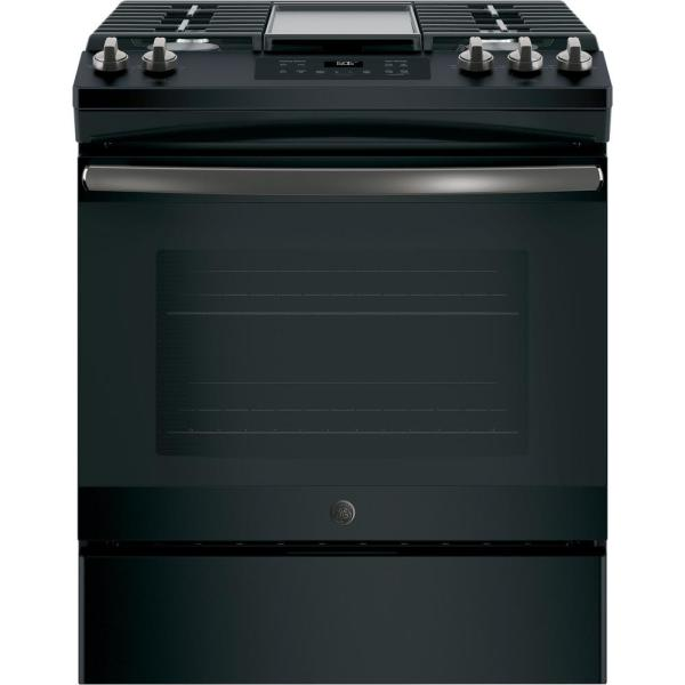 GE 5.3 cu. ft. Slide-In Gas Range with Steam-Cleaning Oven in Black Slate, Fingerprint Resistant