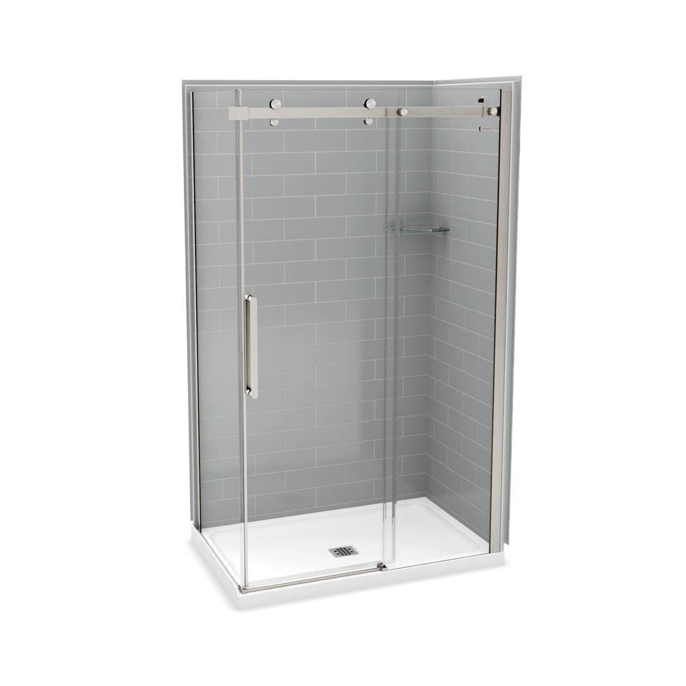 Utile Metro 32 in. x 48 in. x 83.5 in. Center Drain Corner Shower Kit in Ash Grey with Brushed Nickel Shower Door
