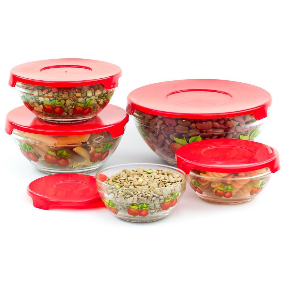 Imperial Home 10-Piece Apple Design Glass Food Storage Bowls Set MW1115
