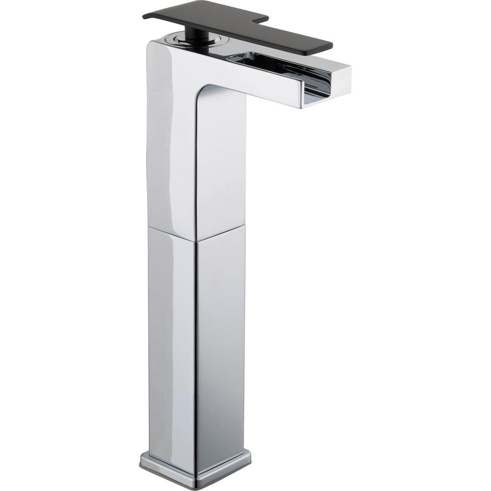 Glacier Bay Femke Single-Handle Vessel Bathroom Faucet in Chrome and Matte Black