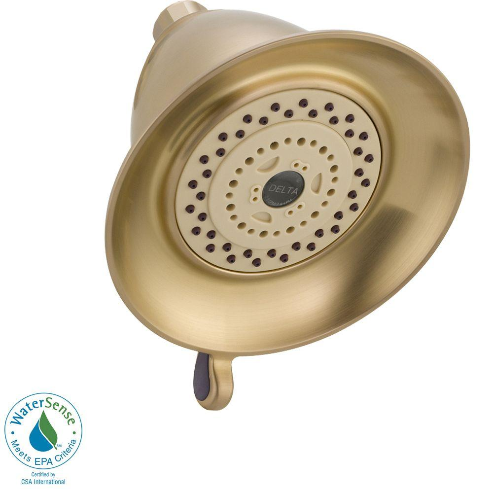 3-Setting 3-Spray Water-Efficient Touch-Clean Shower Head in Champagne Bronze