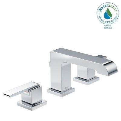 Ara 8 in. Widespread 2-Handle Bathroom Faucet with Metal Drain Assembly in Chrome