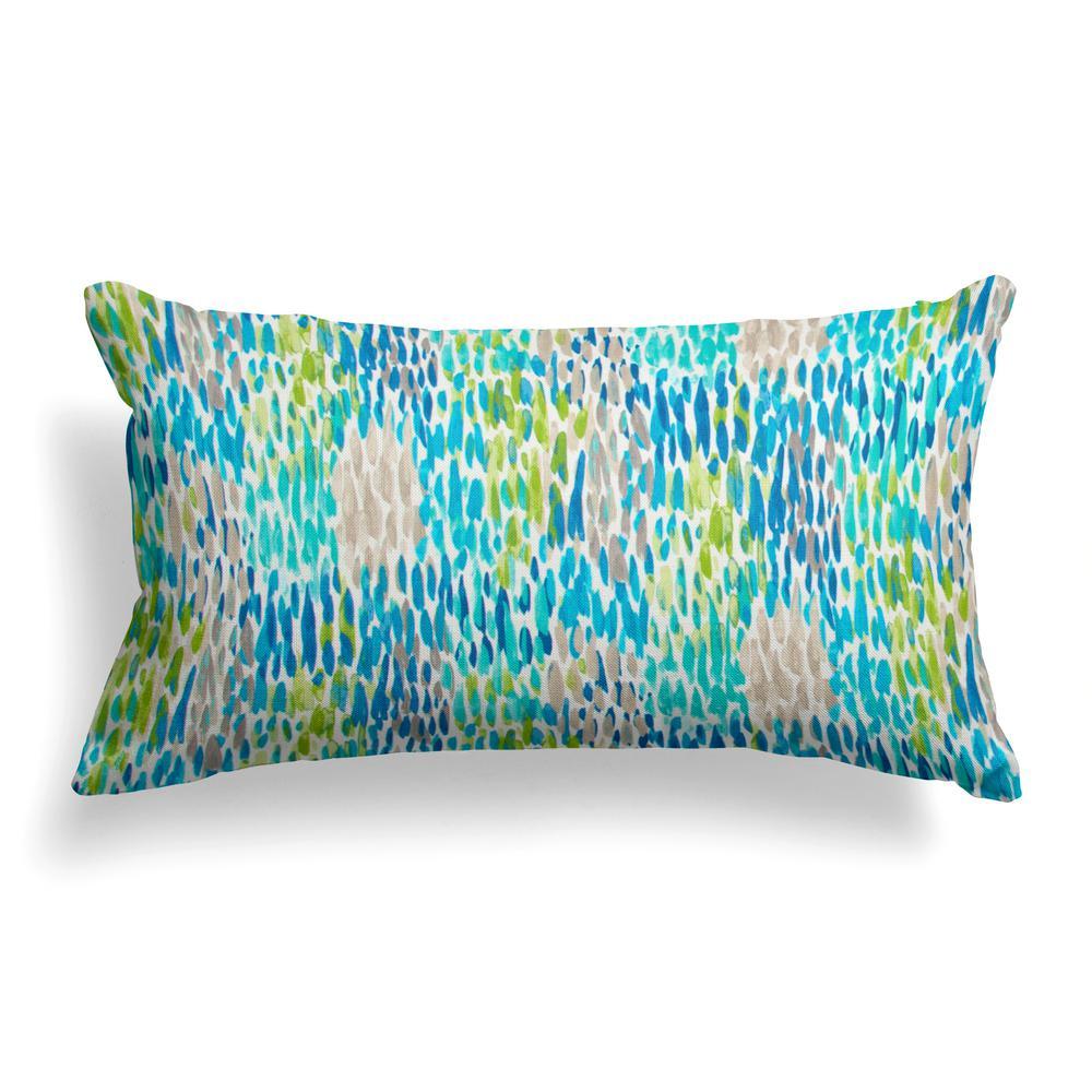 Peacock Feathers Blue Rectangular Lumbar Outdoor Pillow