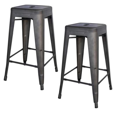 Loft Style 24 in. Rustic Gunmetal Metal Bar Stool (Set of 2)
