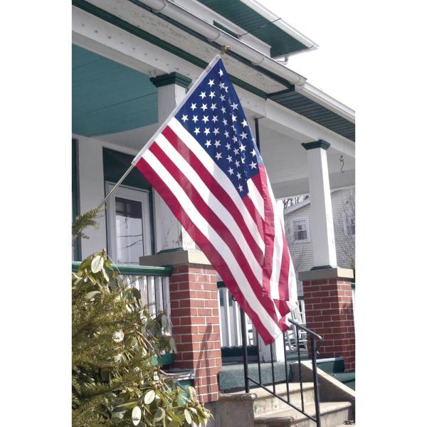 Unbranded All-American 3 ft. x 5 ft. Polycotton U.S. Flag 6 ft. 3-Piece  Steel Pole Kit-AA-US1-1 - The Home Depot
