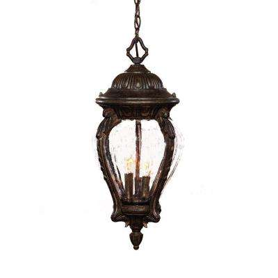 Nottingham Collection 3-Light Black Coral Outdoor Hanging Lantern