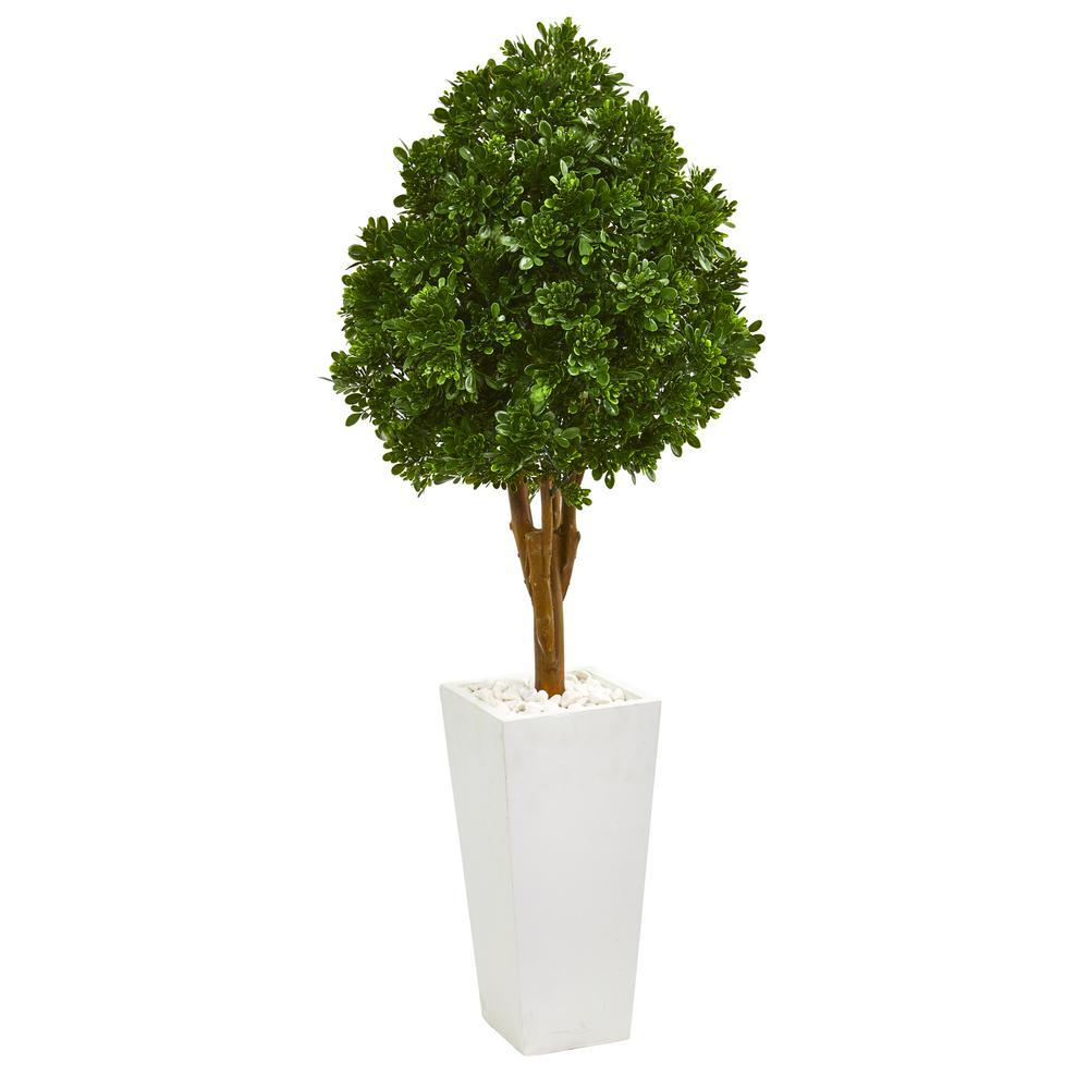 Indoor/Outdoor 58 in. Tea Leaf Artificial Tree in White Planter UV Resistant