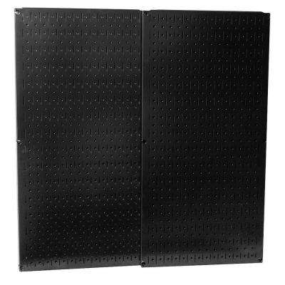 32 in. x 32 in. Overall Size Black Metal Pegboard Pack with Two 32 in. x 16 in. Pegboards