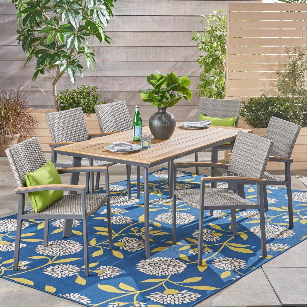 Waldorf Gray 7 Piece Aluminum And Wicker Outdoor Dining Set With Faux Wood Table Top