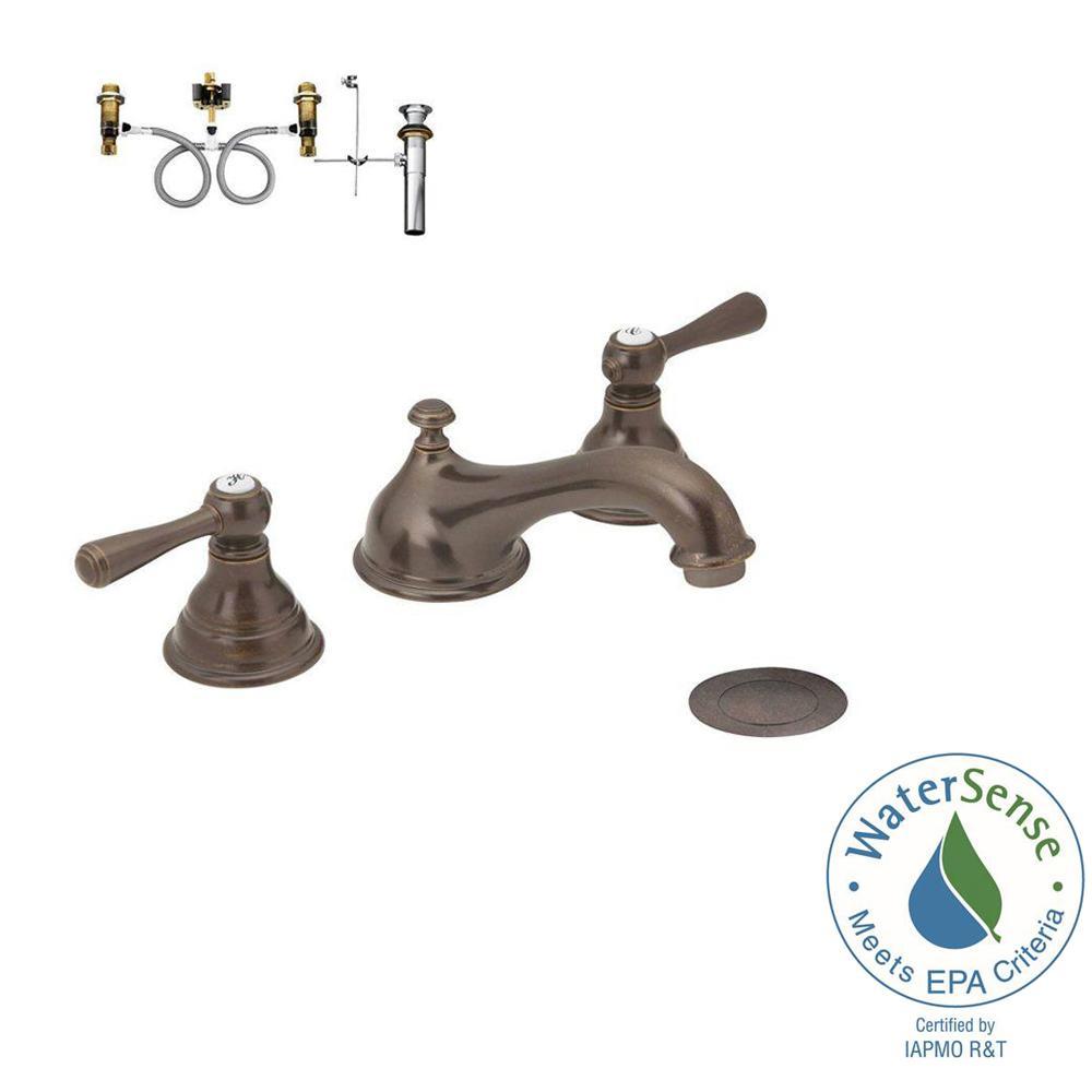 MOEN Kingsley 8 in. Widespread 2-Handle Low-Arc Bathroom Faucet ...