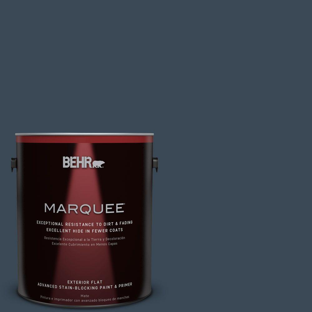 1-gal. #PPF-58 Dark Night Flat Exterior Paint