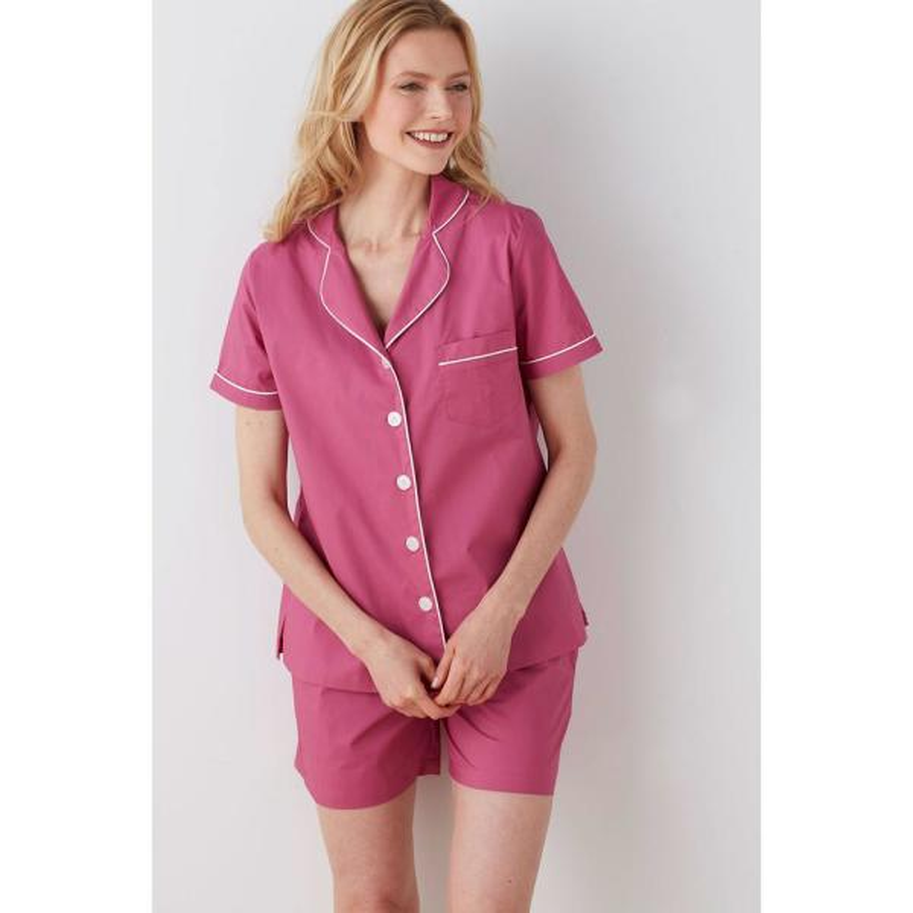 d43b7388100 The Company Store Solid Poplin Cotton Women s Small Raspberry Pajama Short  Set