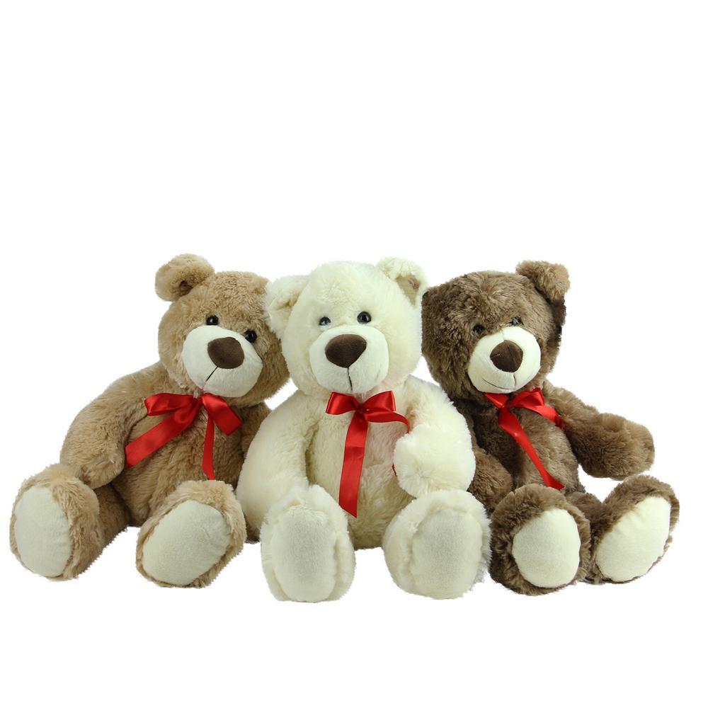 1a971d3f195 Brown Tan and Cream Plush Children s Teddy Bear Stuffed Animal Toys (Set of  3)
