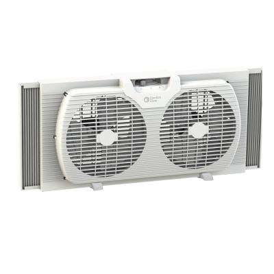 9 in. Twin Window Fan with Reversible Airflow Control, Auto-Locking Expanders and 2-Speed Fan Switch in White