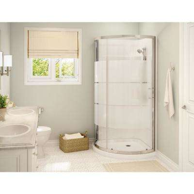 Cyrene 34 in.x 76 in. Off-Center Corner Shower Kit w/Semi-Frameless 3-Stripes Sliding Door Base Wall Kit in White,Chrome