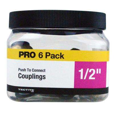 1/2 in. Brass Push-to-Connect Coupling Jar (6-Pack)