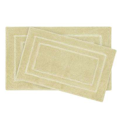 Pearl Double Border Banana 2-Piece Bath Mat Set