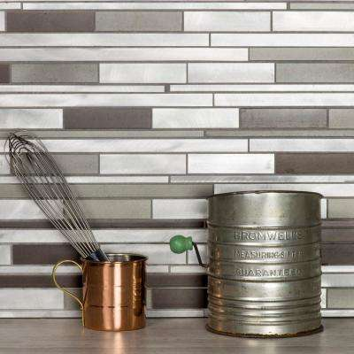 Blissful Metal 12.25 in. x 12.125 in. Wide Linear Brushed Silver with Bronze Aluminum Decorative Wall Tile Backsplash