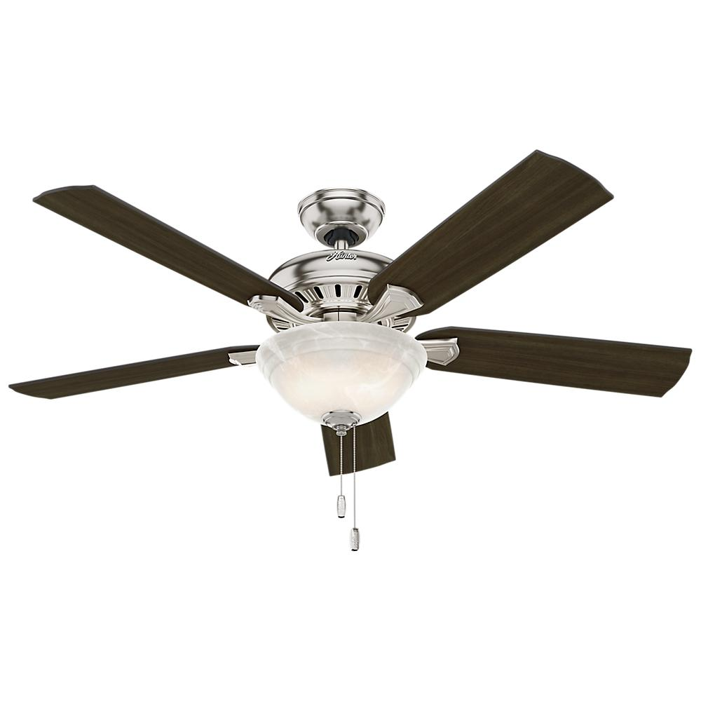 Hunter fletcher 52 in indoor brushed nickel bowl ceiling for Hunter ceiling fan motor