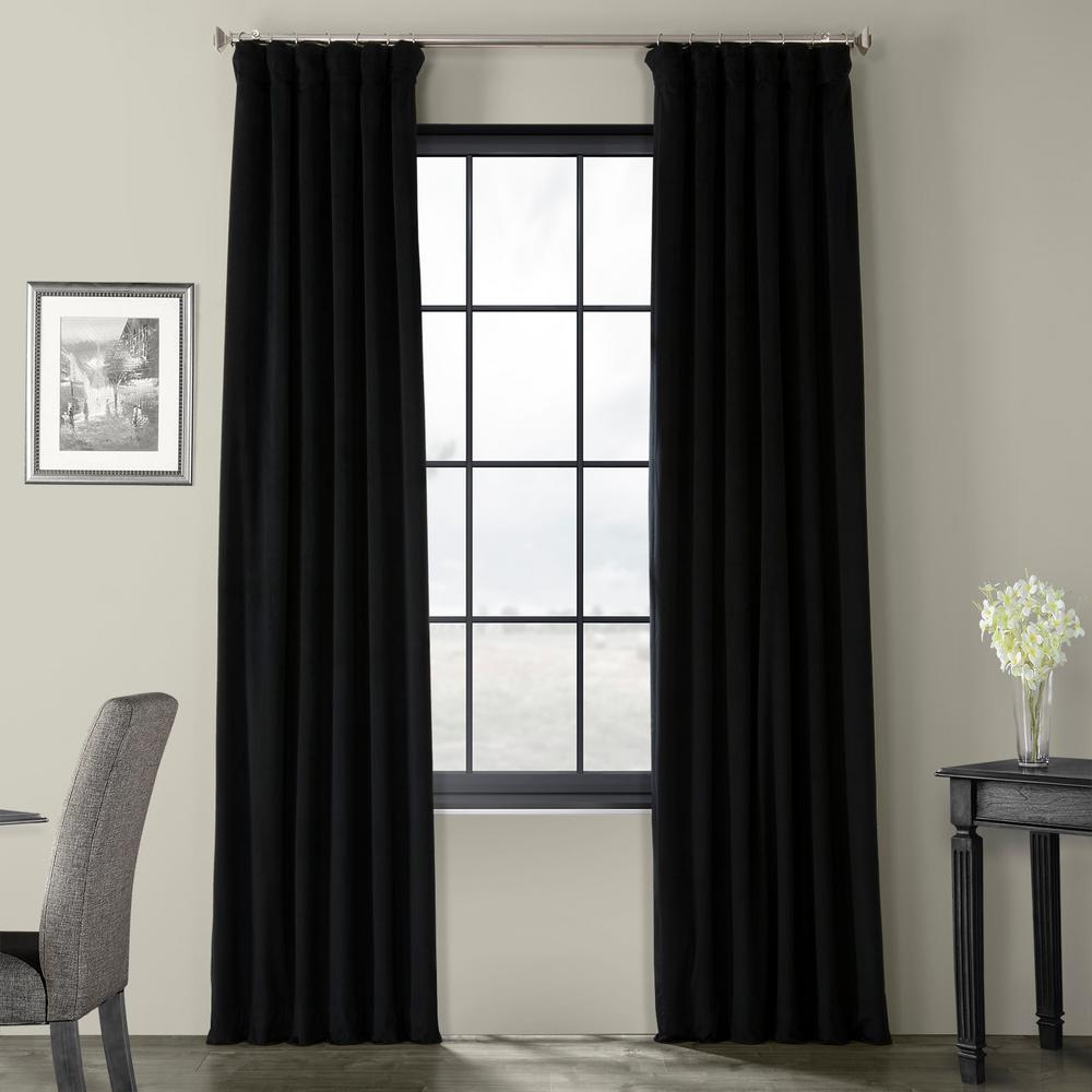 Blackout Signature Warm Black Blackout Velvet Curtain - 50 in. W x 108 in. L (1 Panel)
