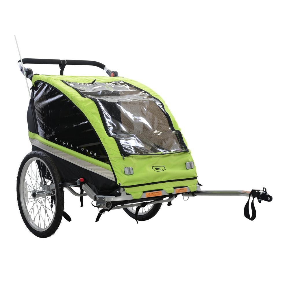 Cycle Force C23 Double Child 3 In 1 Bicycle Trailer Jogger