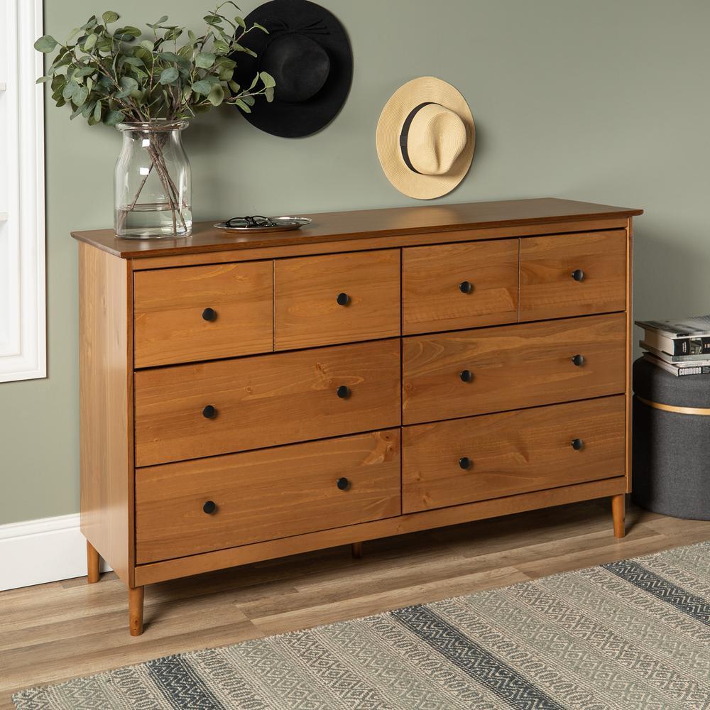 Classic Mid Century Modern 6-Drawer Caramel Solid Wood Dresser