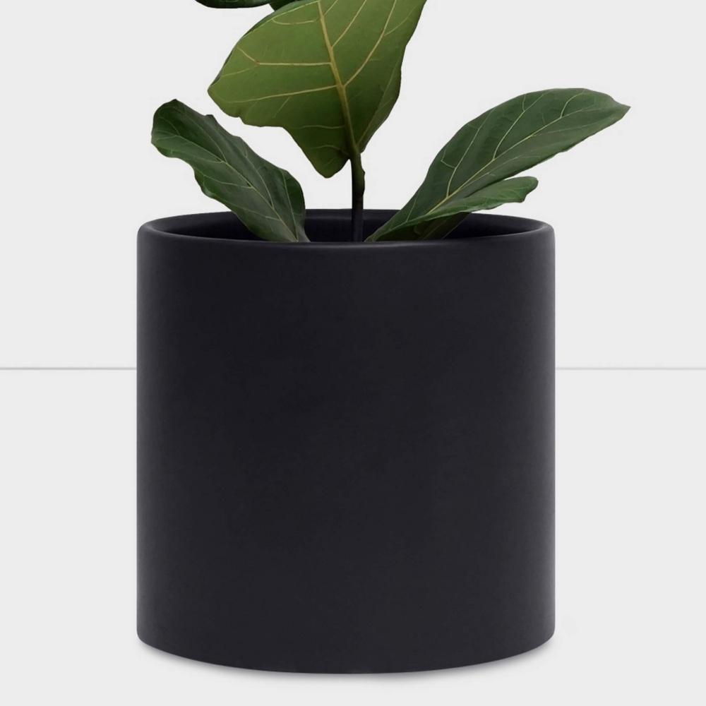 PeachPebble Peach & Pebble 11 in. Black Ceramic Indoor Planter (7 in. to 12 in.)