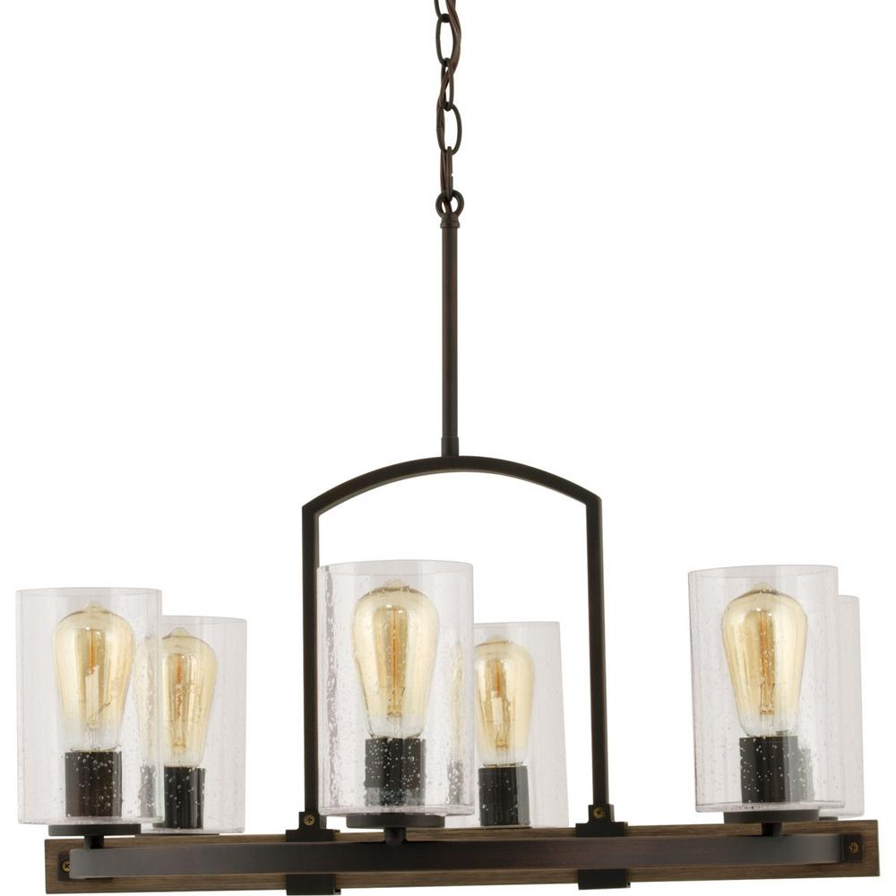 6 Light Vintage Bronze Chandelier With Clear Seeded Glass