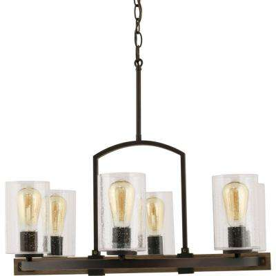 Newbury Manor Collection 6-Light Vintage Bronze Chandelier with Clear Seeded Glass Shades