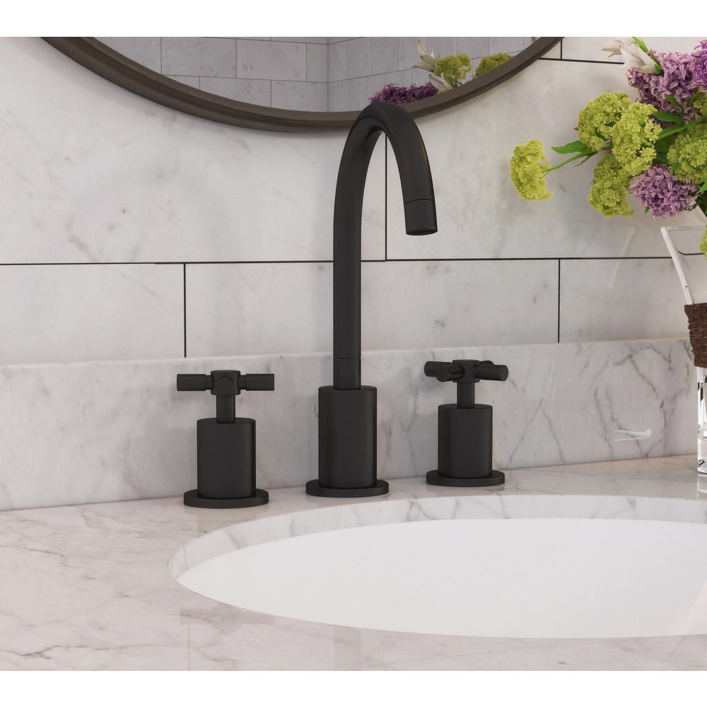 Prima 3 8 in. Widespread 2-Handle Bathroom Faucet in Black Matte