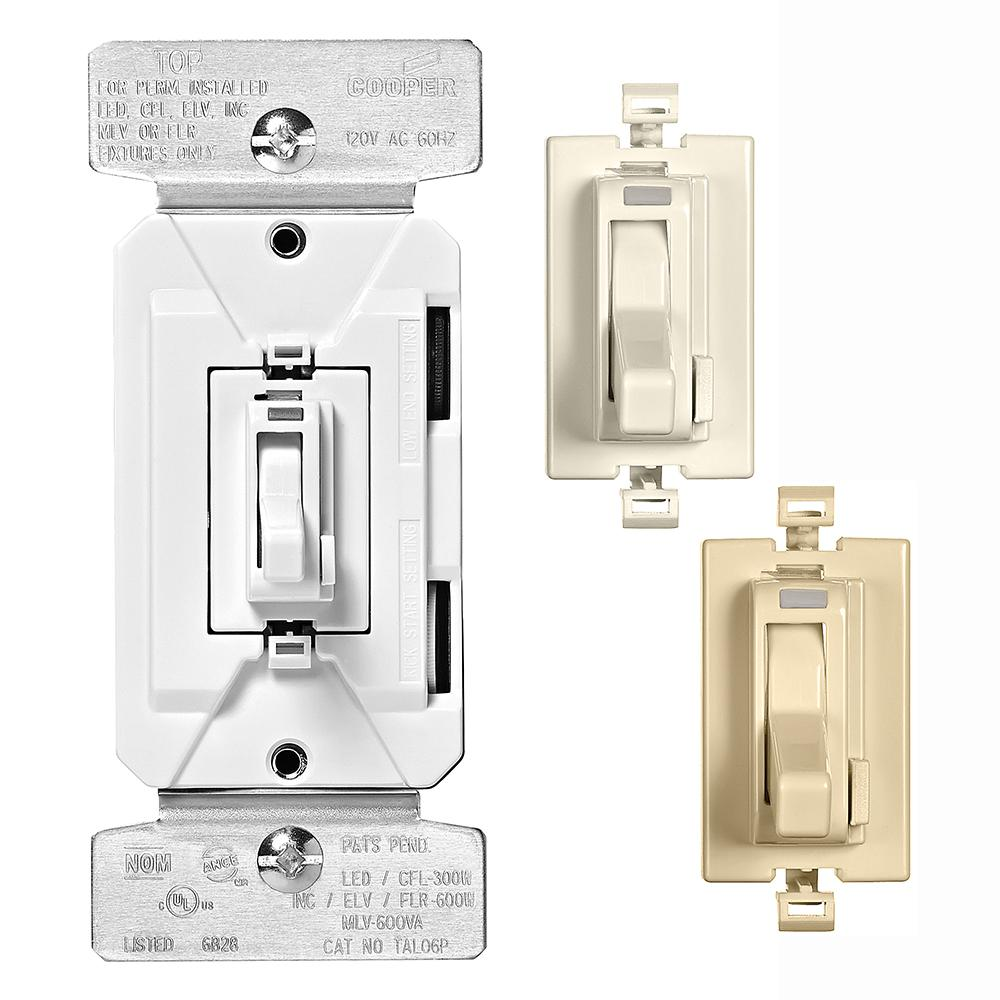 Eaton Eaton AL Series 300W All Load 3-Way and Single Pole Toggle Dimmer with Preset Color Kit Light Almond/White/Ivory, Color Change Kit