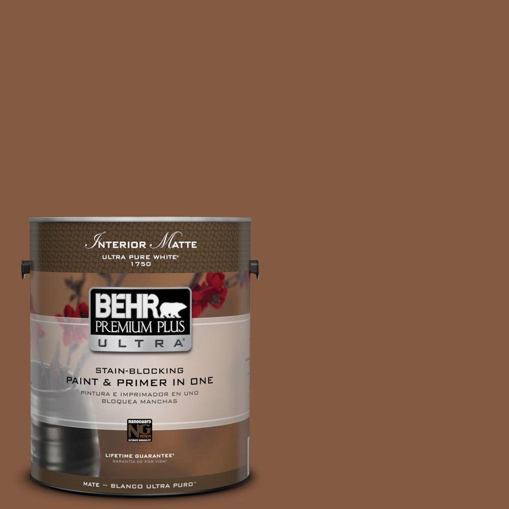 BEHR Premium Plus Ultra 1 gal. #ICC-80 Cinnamon Spice Flat/Matte Interior Paint
