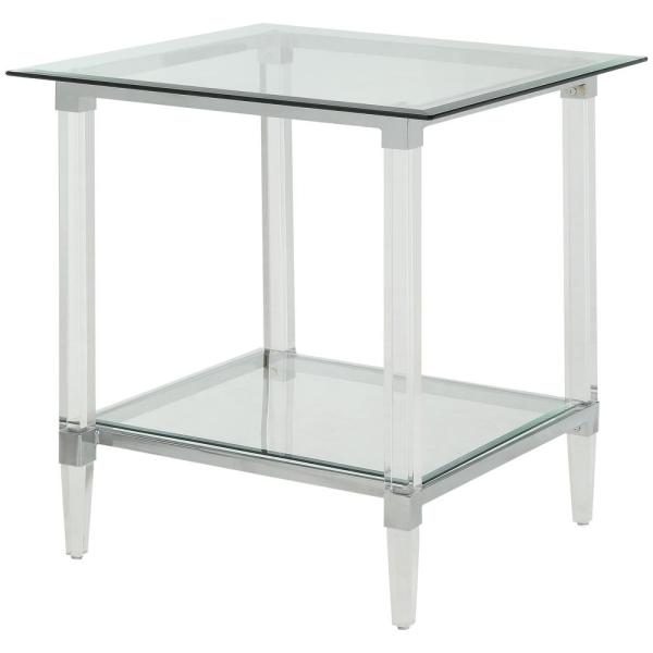 Amelia Clear Acrylic Glass Square Leg End Table