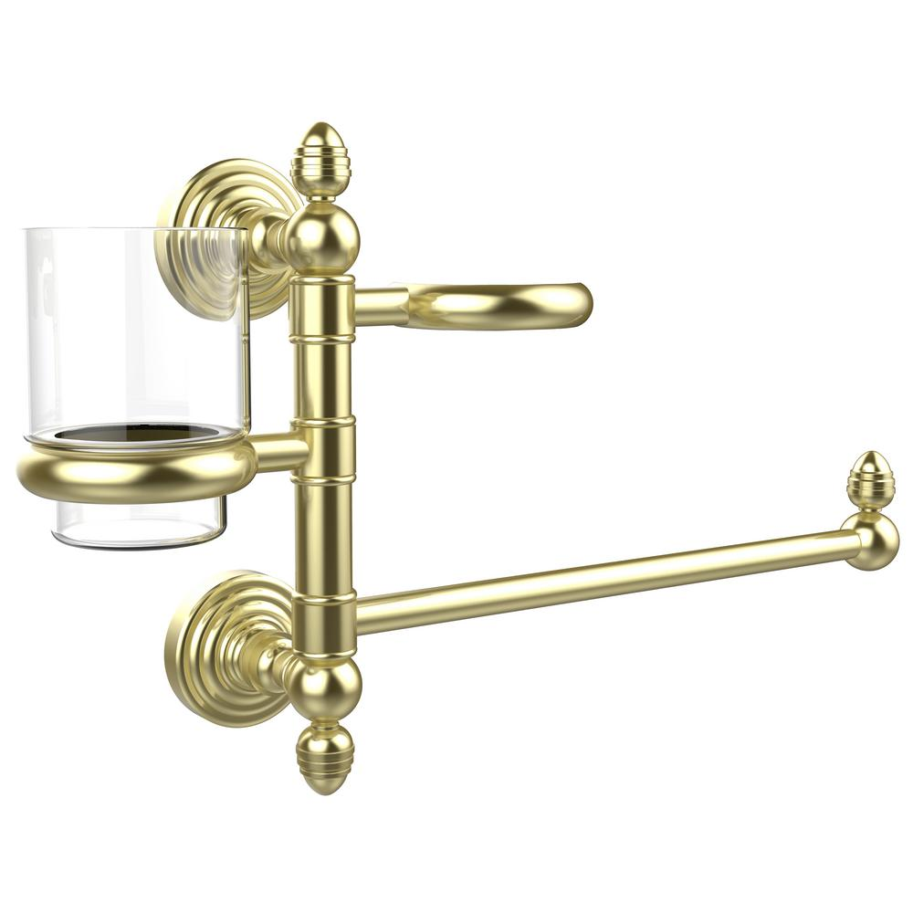 Allied Brass Waverly Place Collection Hair Dryer Holder and Organizer in Satin Brass