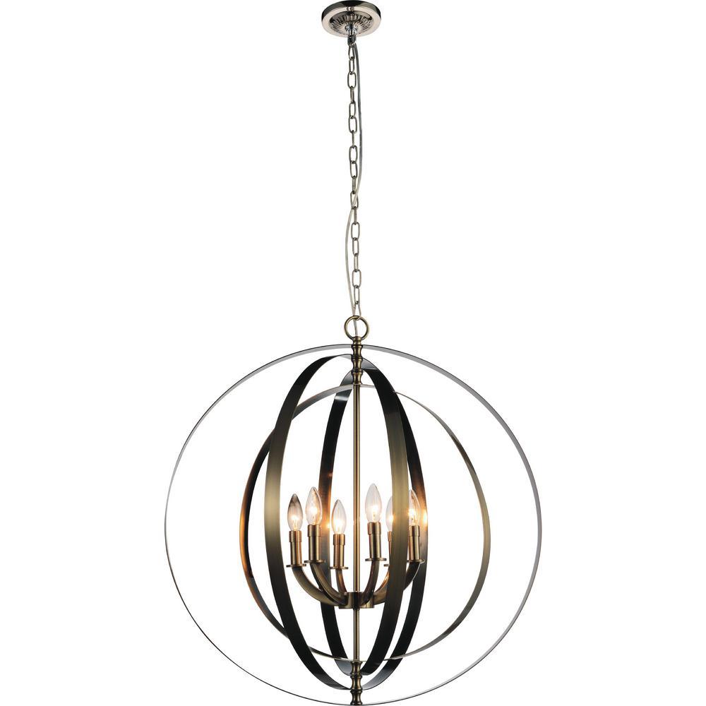 Delroy 6-Light Antique Brass Chandelier