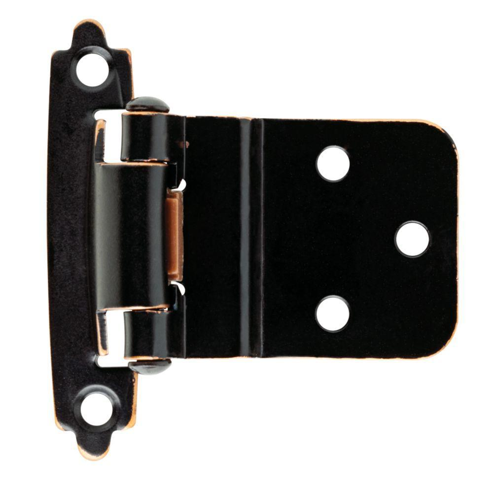 Venetian Bronze with Copper Highlights Self-Closing 3/8 in. Inset Cabinet Hinge