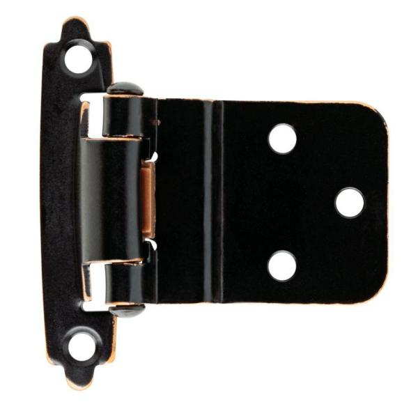Venetian Bronze with Copper Highlights Self-Closing 3/8 in. Inset Cabinet Hinge (1-Pair)