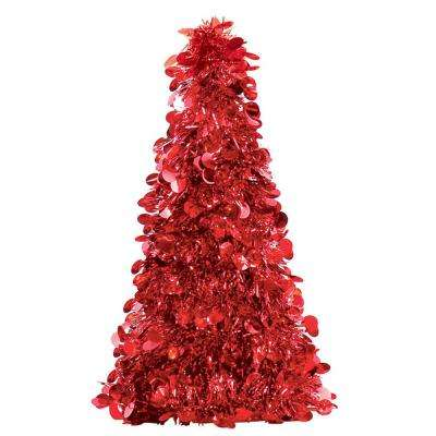10 in. Red Tinsel Tree Centerpiece (6-Pack)