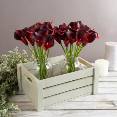 Brick Red Artificial Calla-Lily Flowers with Stems (24-Pack)