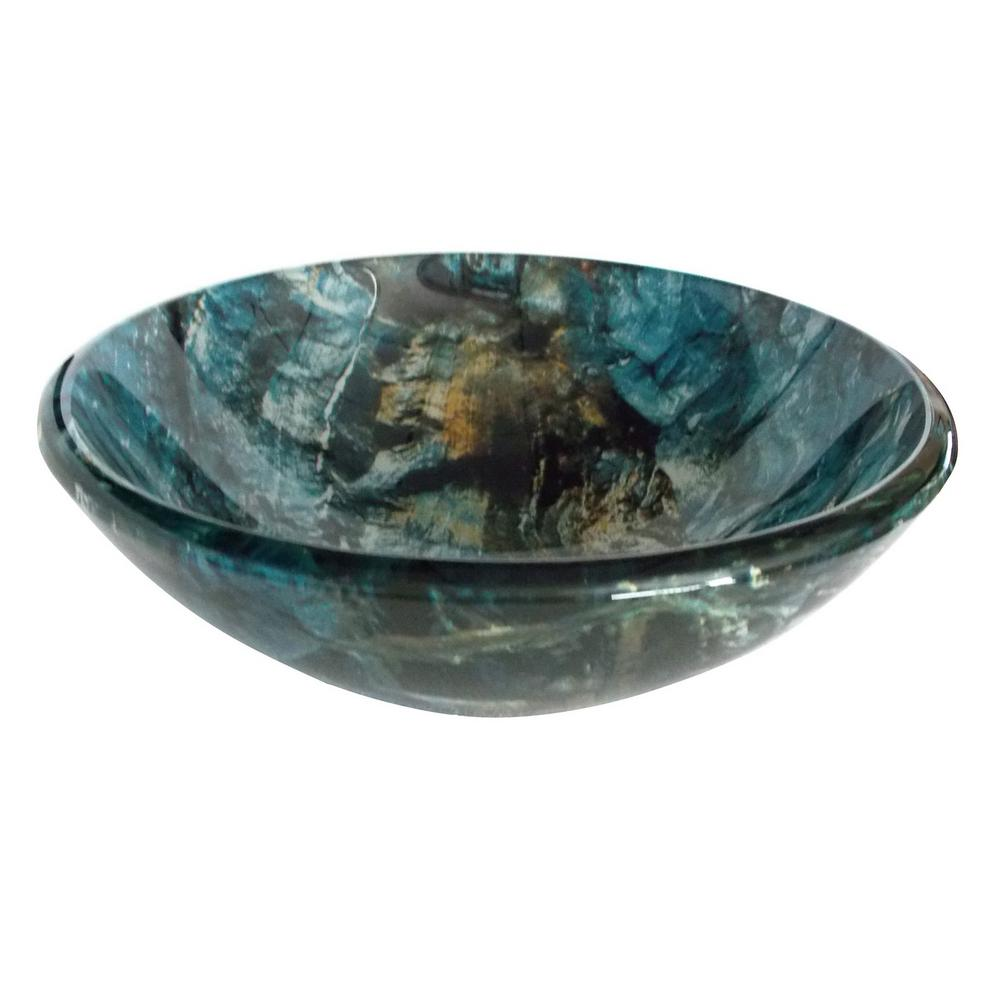 Eden Bath Cliffside Glass Vessel Sink In Multi Colors With Pop-Up Drain And Mounting Ring In