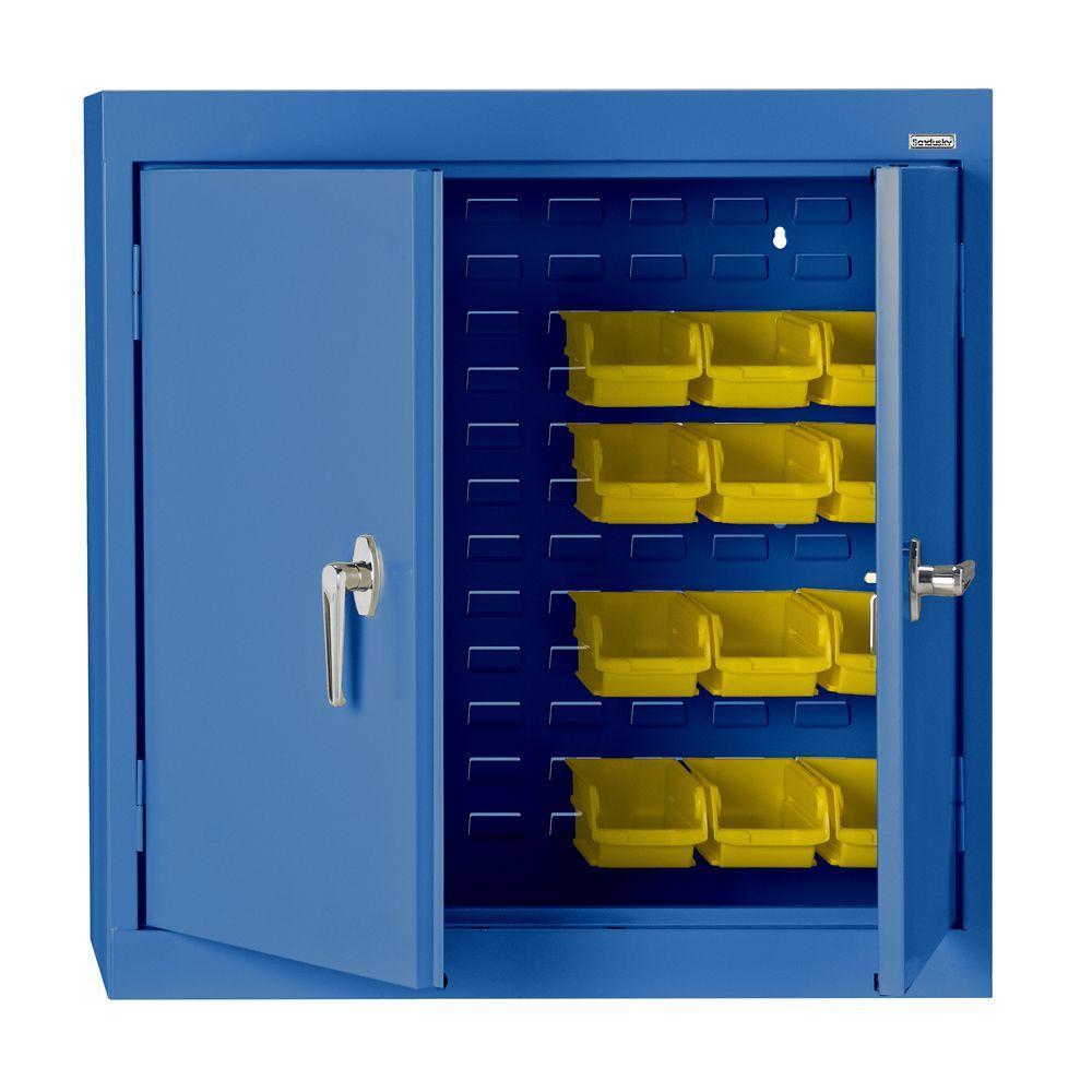 Sandusky 30 in. H x 36 in. W x 12 in. D Solid Door Bin Wall Cabinet in Blue