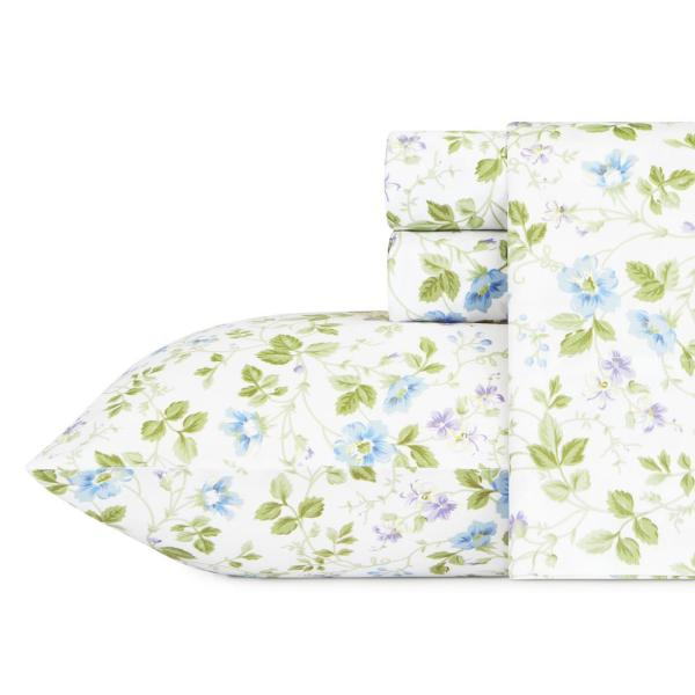 4-Piece Bed Sheet Set Spring Bloom Sateen-Weave Cotton Deep Pocket King Blue