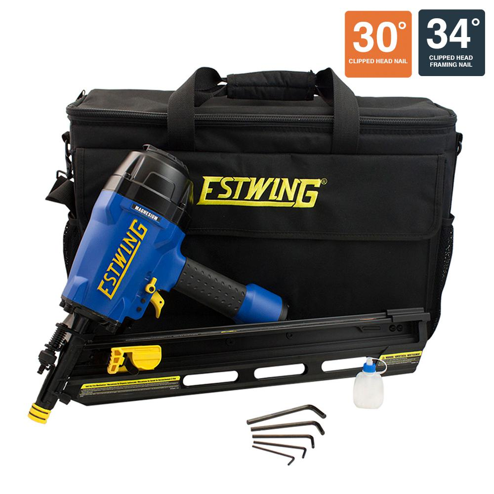 Pneumatic 34 degrees Clipped Head Framing Nailer with Padded Bag