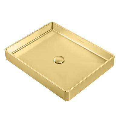 Noah Plus Rectangular Above Mount Vessel Sink in Brass with Matching Center Drain