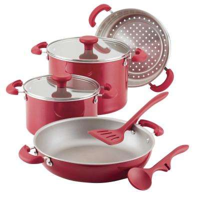 Create Delicious Stackable 8-Piece Red Shimmer Nonstick Cookware Set