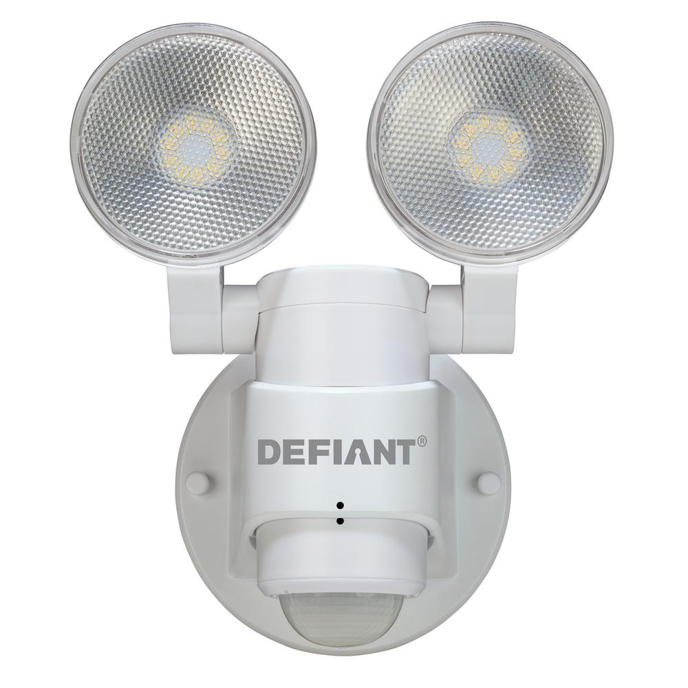 Defiant 180 Degree 2-Head Black Motion Activated Outdoor Flood ...