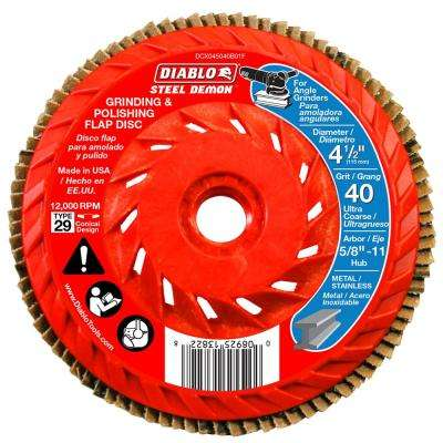 4-1/2 in. 40-Grit Steel Demon Grinding and Polishing Flap Disc with Integrated Speed Hub