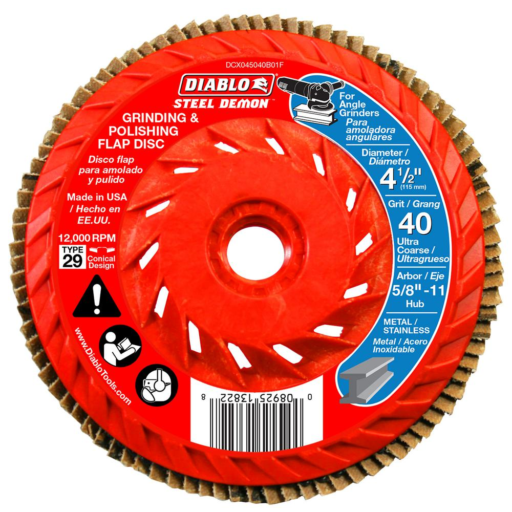 Diablo 4-1/2 in. 40-Grit Steel Demon Grinding and Polishing Flap Disc with Integrated Speed Hub